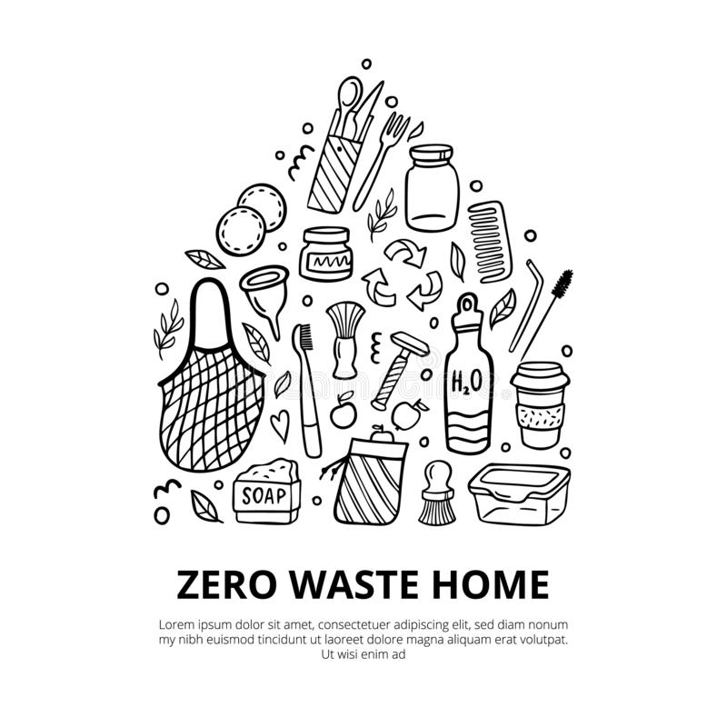 Doodle elements of zero waste life with text. Go green. Eco-style hand-drawn vector illustration. Good for posters, banners, web design, books, flyer or cards royalty free illustration