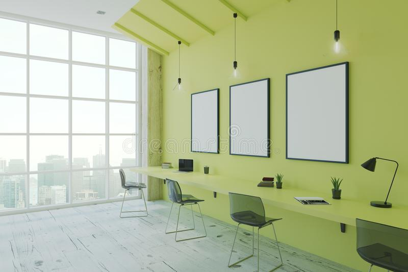 Eco style office. Blank picture frames in modern eco style office with megapolis city view. 3D render stock illustration