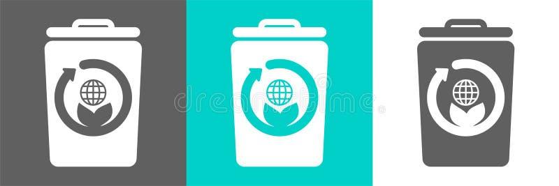 Eco stylu mieszkania logo Kosz na śmieci wektorowy element z kula ziemska konturu ikoną ilustracja wektor