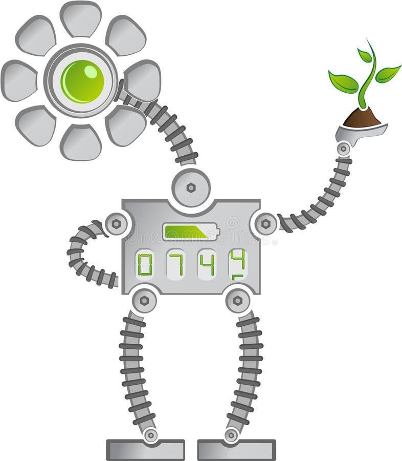 Eco Sunflower Robot vector illustration