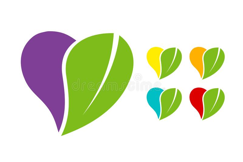 Colorful Heart Eco emblem set with green organic leave. Colorful Heart Eco emblem vector set with green organic leave. Natural sticker pack in orange, red, blue royalty free illustration