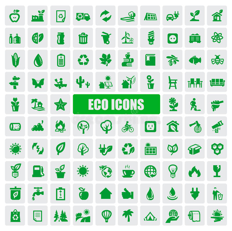 Eco symboler royaltyfri illustrationer