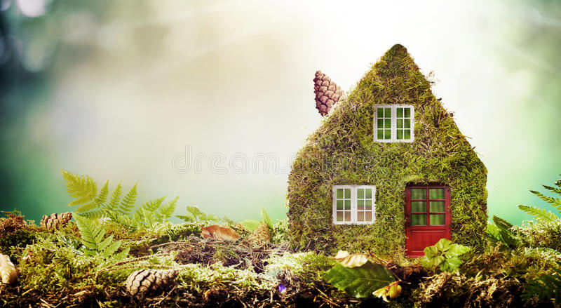 Eco täckte det vänliga husbegreppet med mossa modellen fotografering för bildbyråer