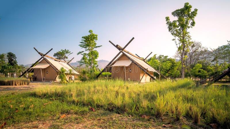 Eco tält som campar, khaoyai, Thailand arkivfoto
