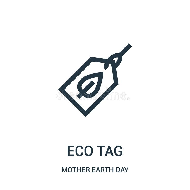 eco tag icon vector from mother earth day collection. Thin line eco tag outline icon vector illustration stock illustration