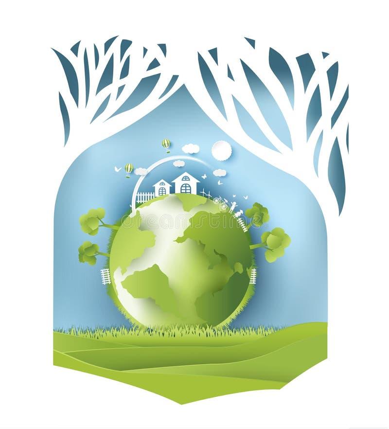 Eco tapezieren Kunstdesignart, -baum und -familie mit Natur Vektor stock abbildung