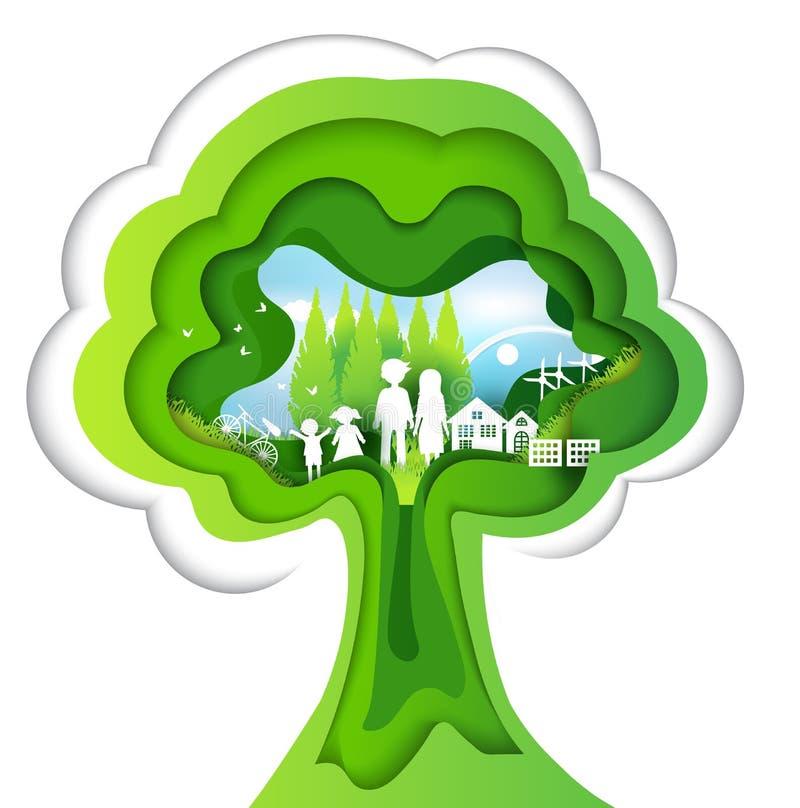 Eco tapezieren Kunstdesignart, -baum und -familie mit Natur Vektor vektor abbildung