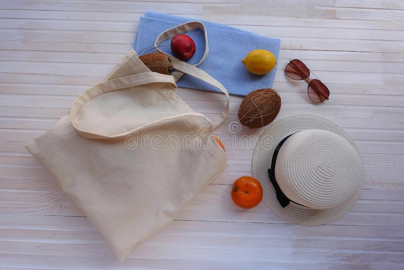 Eco-Tasche mit Frucht, Hut und Sonnenbrille lizenzfreie stockfotografie