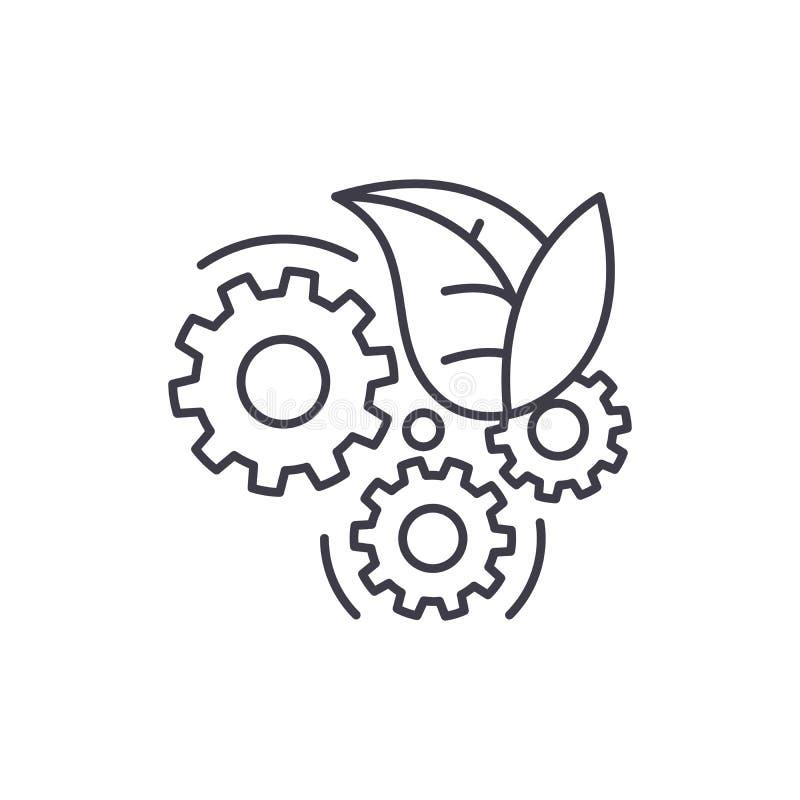Eco-Technologielinie Ikonenkonzept Lineare Illustration des Eco-Technologie-Vektors, Symbol, Zeichen lizenzfreie abbildung