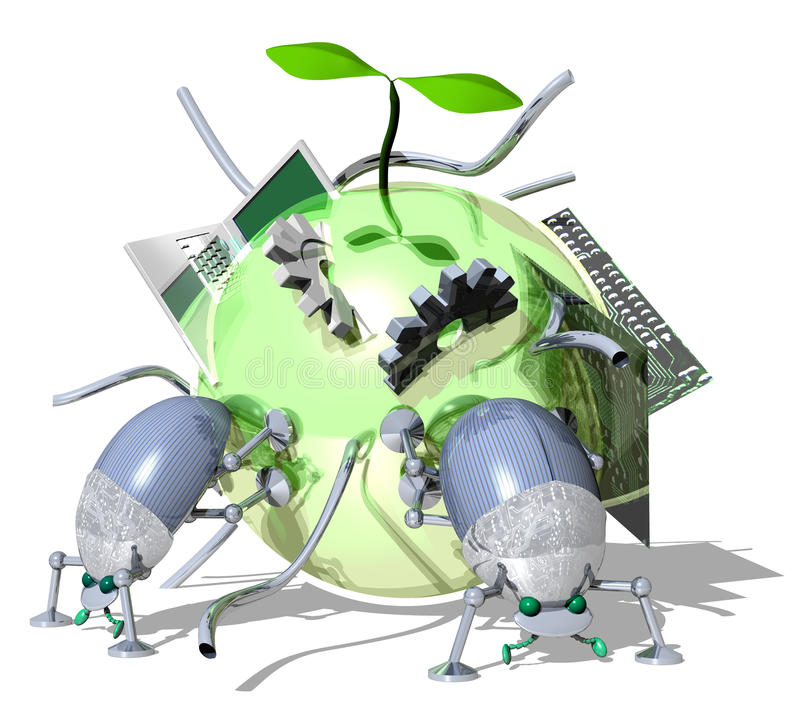 Eco-Technology. Image to make eco-rounded nutrition technology for insect robots stock illustration