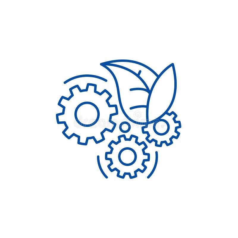 Eco teknologilinje symbolsbegrepp Symbol för vektor för Eco teknologi plant, tecken, översiktsillustration royaltyfri illustrationer
