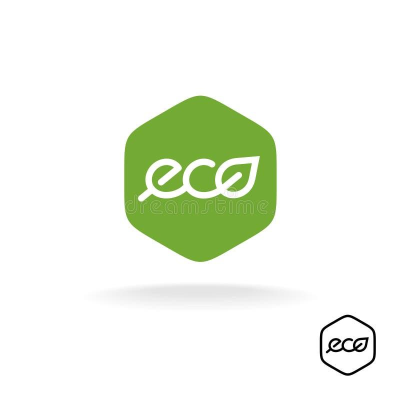 Eco teksta odznaka z zielonym liściem Liniowy styl pisze list loga ilustracji