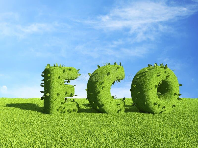 ECO-text på gräsfält. Ekologi 3D vektor illustrationer
