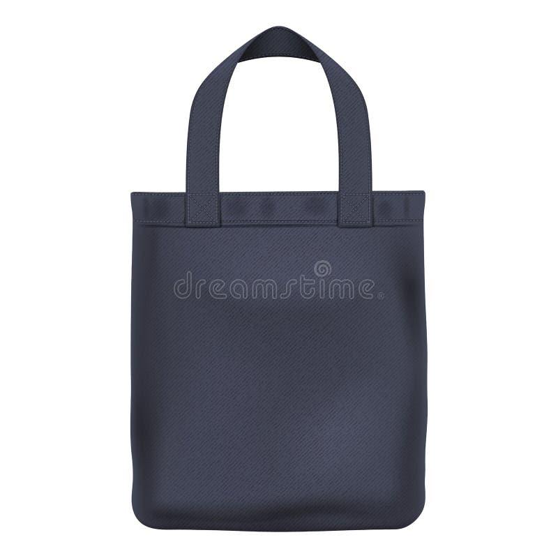 Eco-Textilschwarzeinkaufstasche-Vektorillustration lizenzfreie abbildung