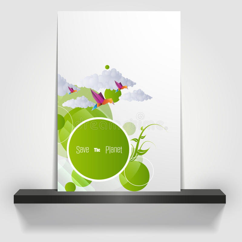Eco theme flyer template or corporate banner design vector illustration