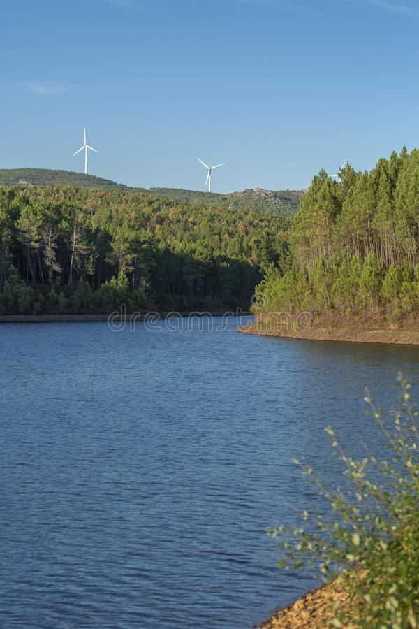 Eco Theme, landscape, wind turbines horizon royalty free stock photos