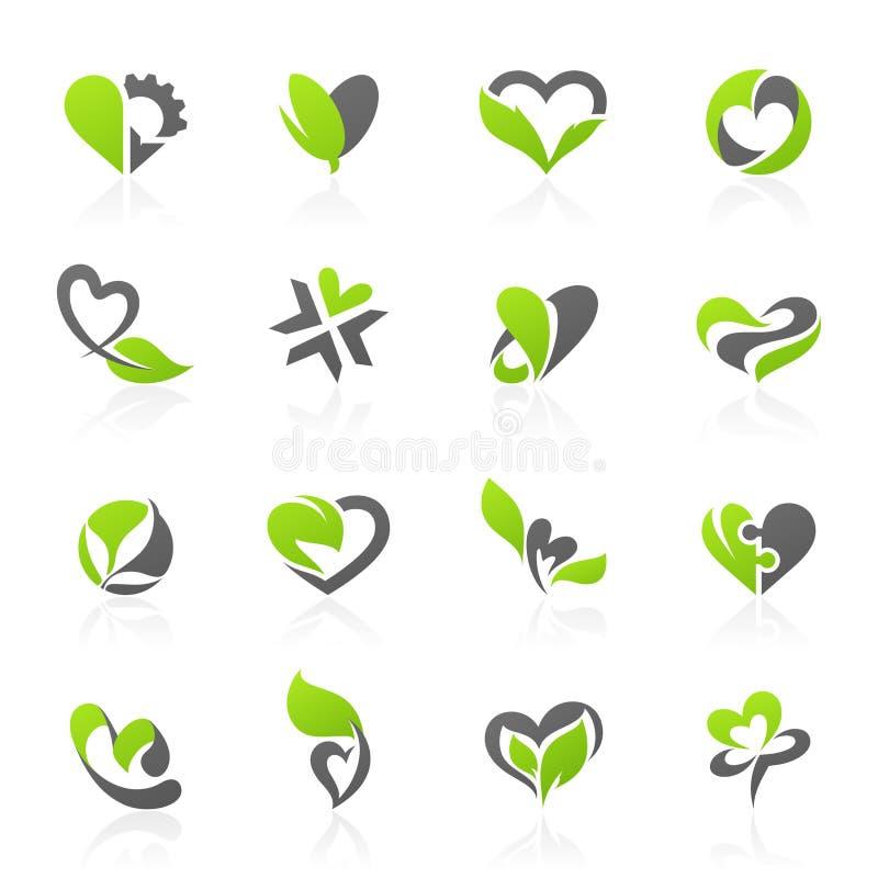 Eco-Themed de vectorreeks van het embleemmalplaatje vector illustratie