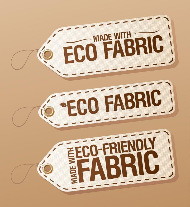 eco tkaniny życzliwe etykietki robić royalty ilustracja