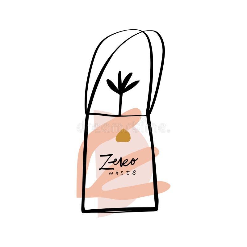Eco tkaniny sukienna torba Zero odpady Opieka o ?rodowisku r?wnie? zwr?ci? corel ilustracji wektora ilustracji