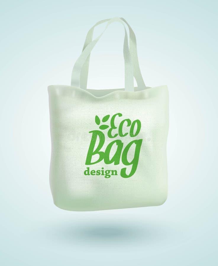 Eco tkaniny torby Sukienny duży ciężar Odizolowywający na Białym tle Opieka o środowisku również zwrócić corel ilustracji wektora royalty ilustracja