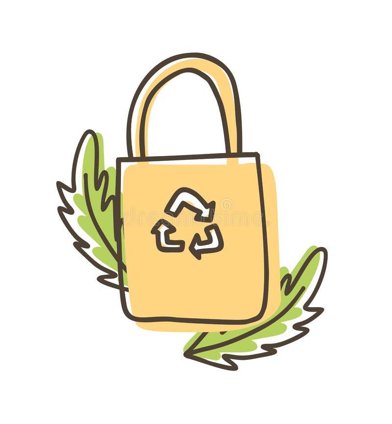 Eco tkaniny torby Sukienny du?y ci??ar Odizolowywaj?cy na Bia?ym tle ilustracja wektor