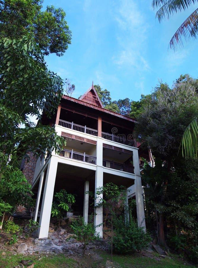 Eco tourism - ethnic design luxury tree house, Malaysia stock photo