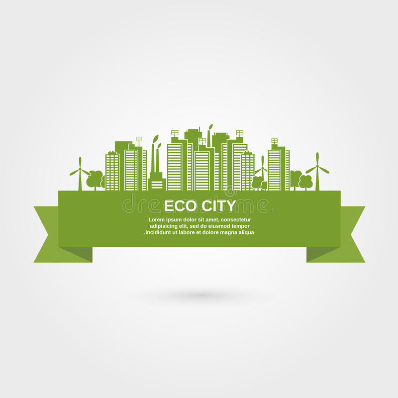 Eco Town Concept royalty free illustration