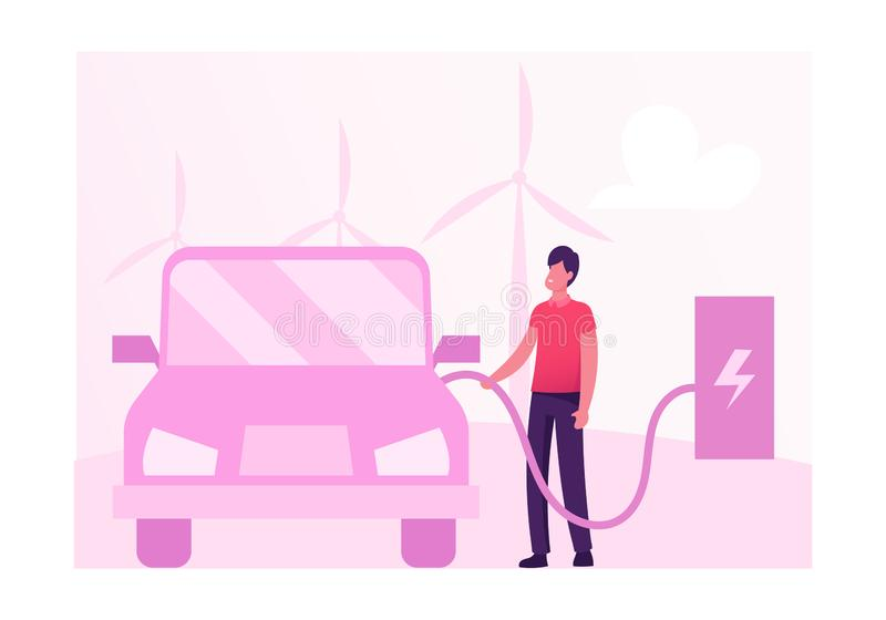 Eco Transport Concept. Man Charging Electric Car on Background with Wind Mills for Green Power Production stock illustration