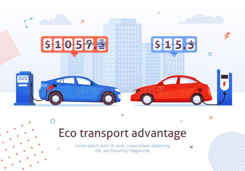Eco transportu przewagi benzyny Auto Elektryczny samochód royalty ilustracja