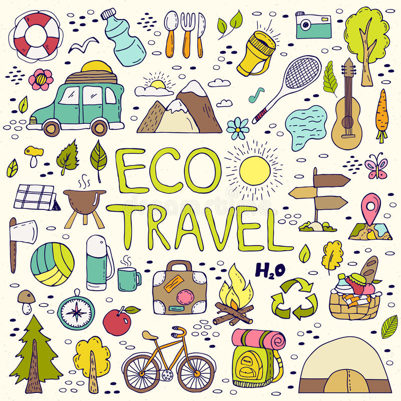 Eco travel element. Hand drawing doodles. vector illustration