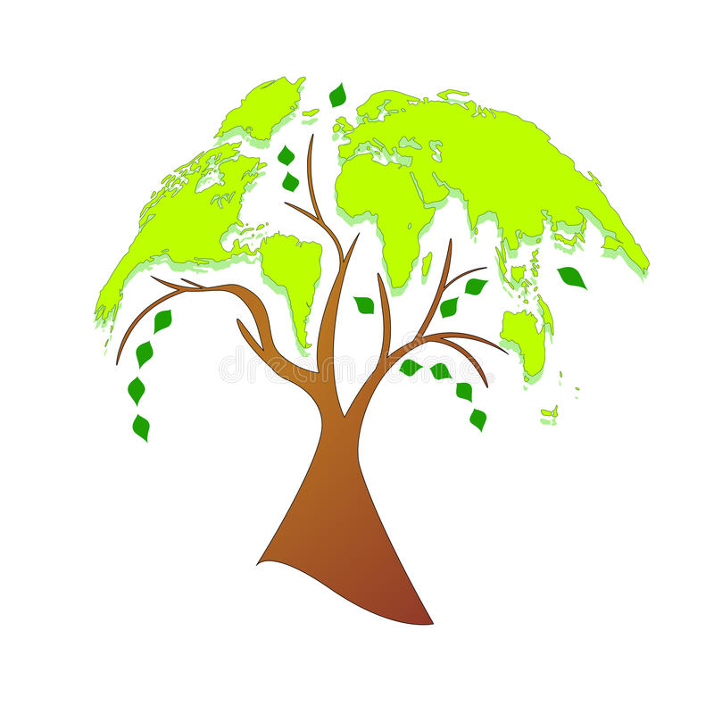 Eco tree (world map) royalty free illustration