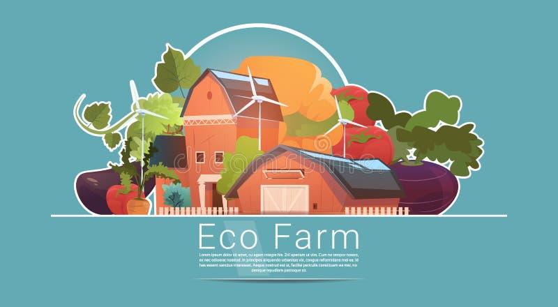 Eco Uprawia ziemię, gospodarstwo rolne dom, ziemia uprawna Z silnik wiatrowy energii odnawialnej stacją royalty ilustracja