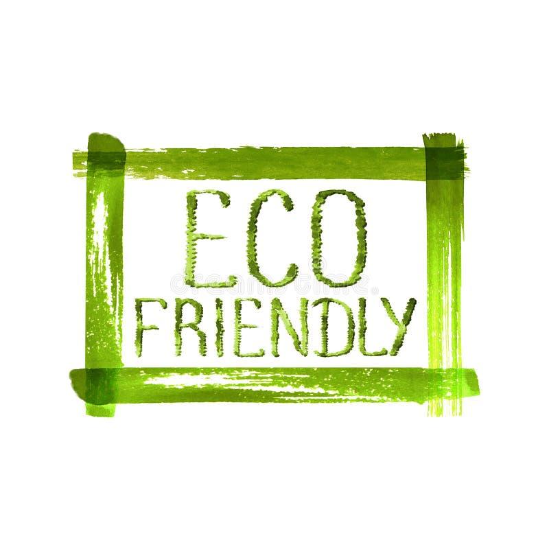 Eco vänlig begreppslogo på grungegräsplanram arkivbild