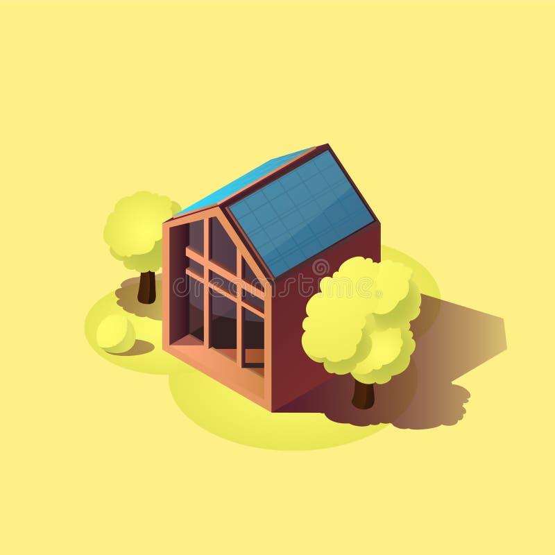 Eco vänlig hem- symbol Modernt hus för grön energi med solpaneler Isometrisk vektorillustration royaltyfri foto
