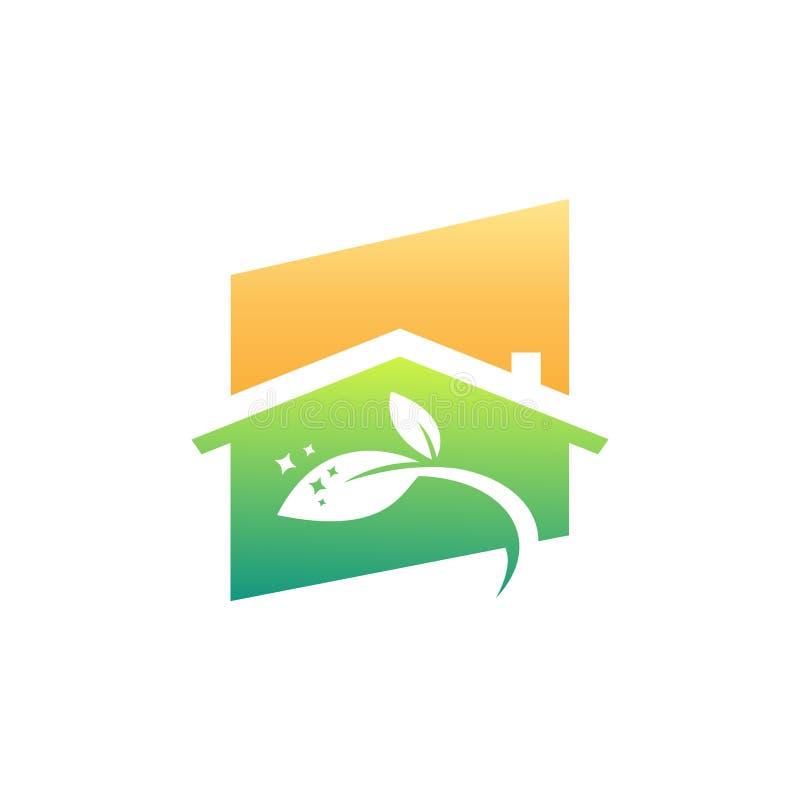 Eco vänligt hus som gör ren tjänste- affär stock illustrationer