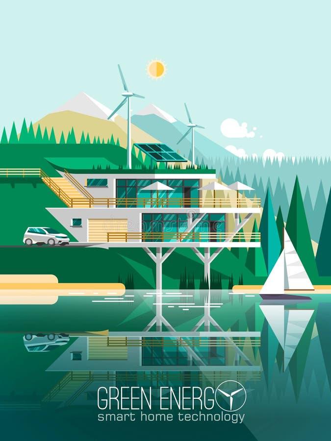 Eco vänligt modernt hus stock illustrationer