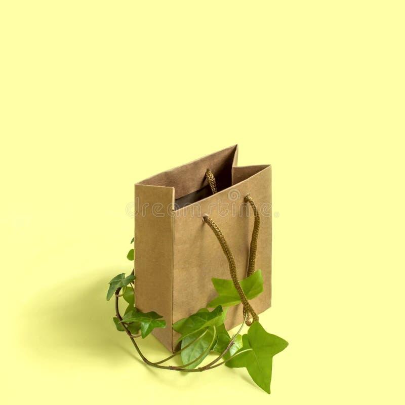 Eco-vänskapsmatch shoppingpåse med filialen av den gröna växten royaltyfri foto