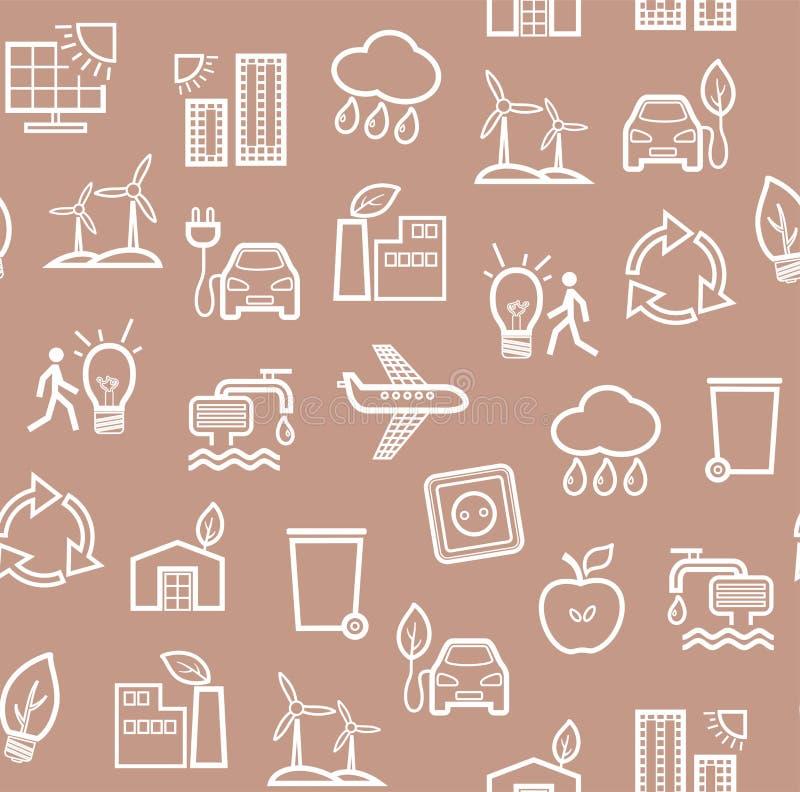 Eco-vänskapsmatch teknologi, sömlös modell som är brun, konturmodell, monokrom, vektor vektor illustrationer