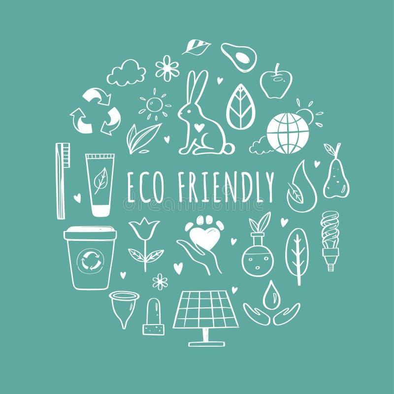 Eco v?nskapsmatch, upps?ttning f?r symboler f?r ekologivektorhand utdragen Organiska sk?nhetsmedel, nollavfalls, sparar jord och  royaltyfri illustrationer