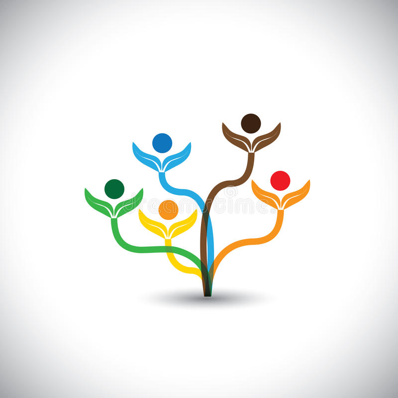 Eco vector icon - family tree and teamwork concept. This graphic illustration also represents team effort, unity, togetherness, school children, eco concept