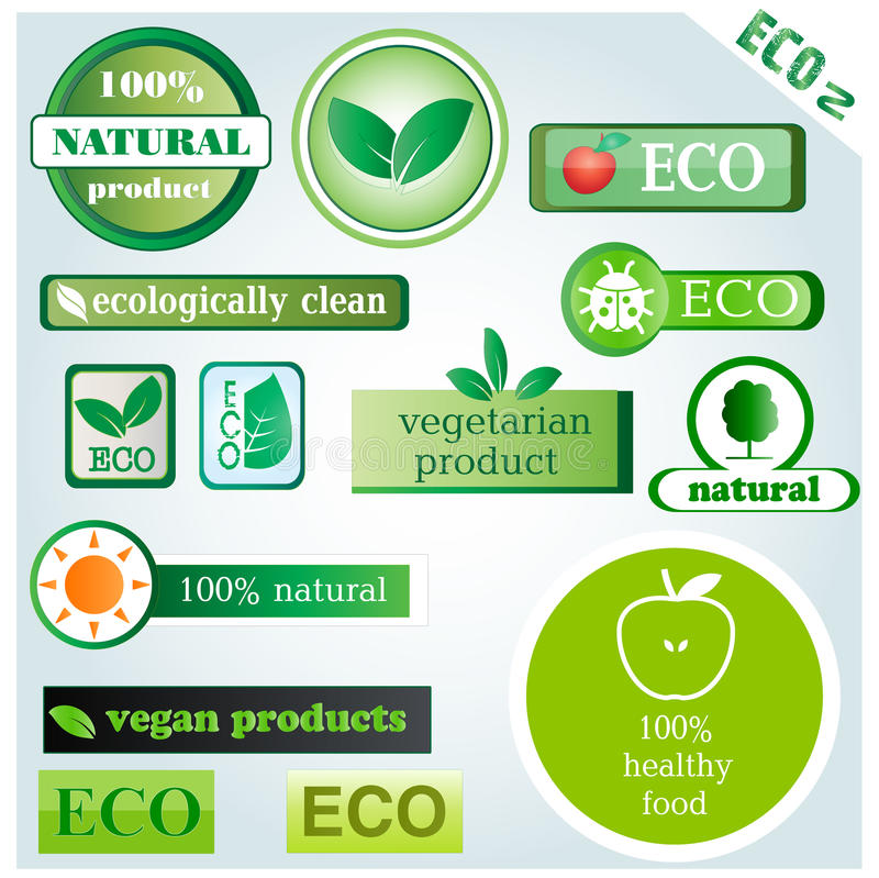 Eco vector icons and signs. Set 2 of vector icons with main themes: ecology, recycling, organic and natural products vector illustration