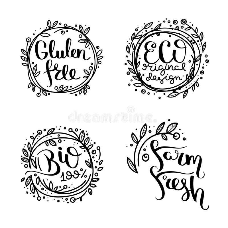 Eco vector organic labels, bio emblems for stickers and restaurants menu, natural products packaging. Gluten free, vegan, locally grown eco friendly ink stamps stock illustration