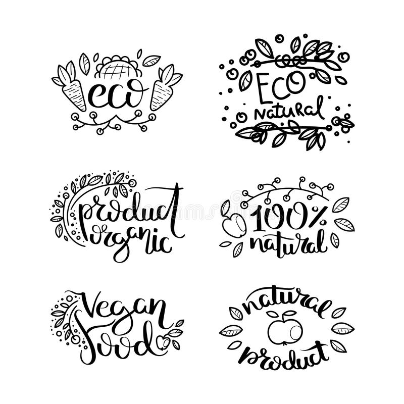 Eco vector organic labels, bio emblems for stickers and restaurants menu, natural products packaging. Gluten free, vegan, locally grown eco friendly ink stamps vector illustration
