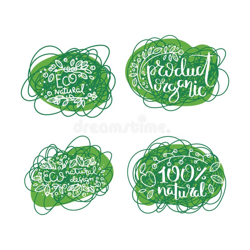 Eco vector organic labels, bio emblems for stickers and restaurants menu, natural products packaging. Gluten free, vegan, locally grown eco friendly stamps on stock illustration