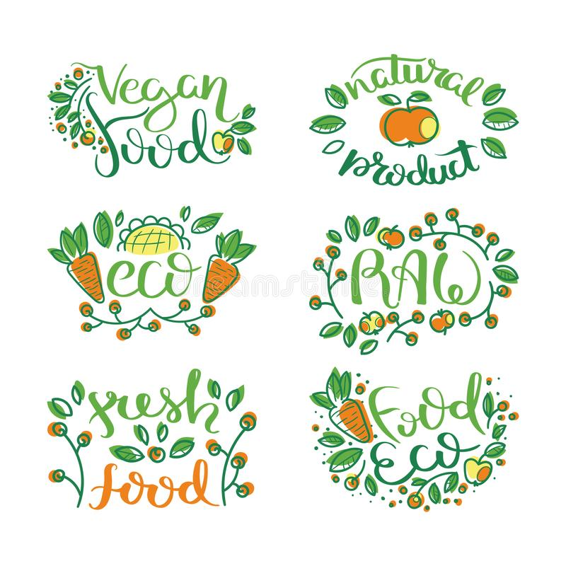 Eco vector organic labels, bio emblems for stickers and restaurants menu, natural products packaging. Gluten free, vegan, locally grown eco friendly stamps on vector illustration