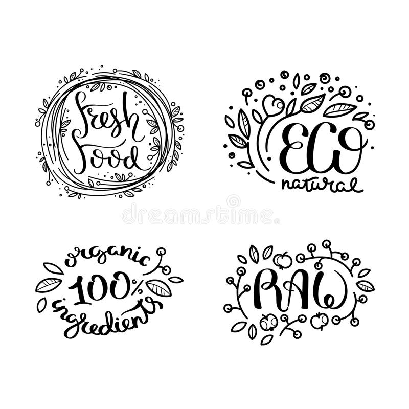 Eco vector organic labels, bio emblems for stickers and restaurants menu, natural products packaging. Gluten free, vegan, locally grown eco friendly ink stamps royalty free illustration