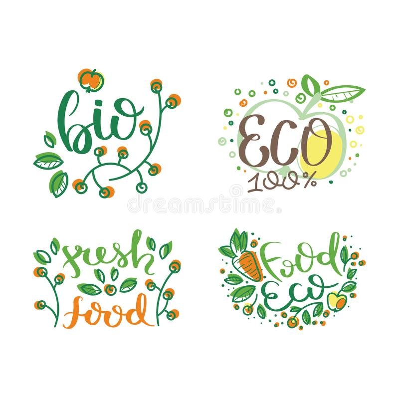 Eco vector organic labels, bio emblems for stickers and restaurants menu, natural products packaging. Gluten free, vegan, locally grown eco friendly stamps on royalty free illustration
