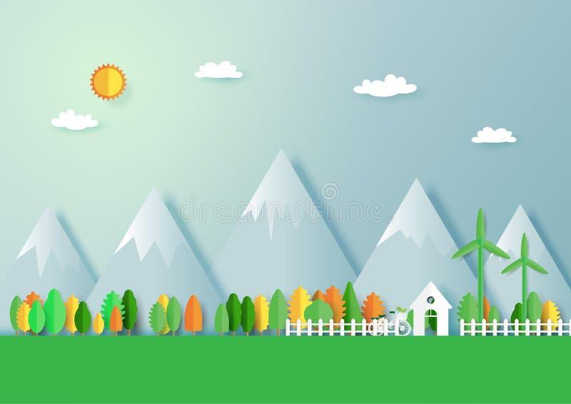 Eco verde amigável e backgrou do sumário da paisagem da floresta da natureza ilustração stock