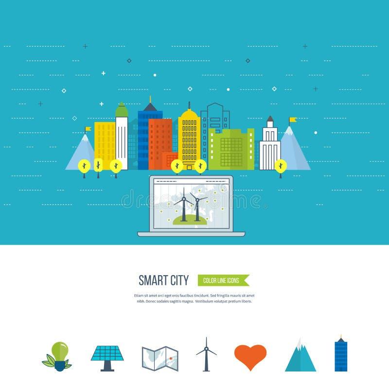 Eco verde e conceito eco-amigável da cidade Cidade esperta ilustração royalty free