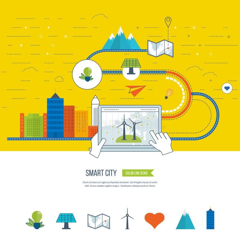 Eco verde e concetto ecologico della città Città astuta illustrazione vettoriale